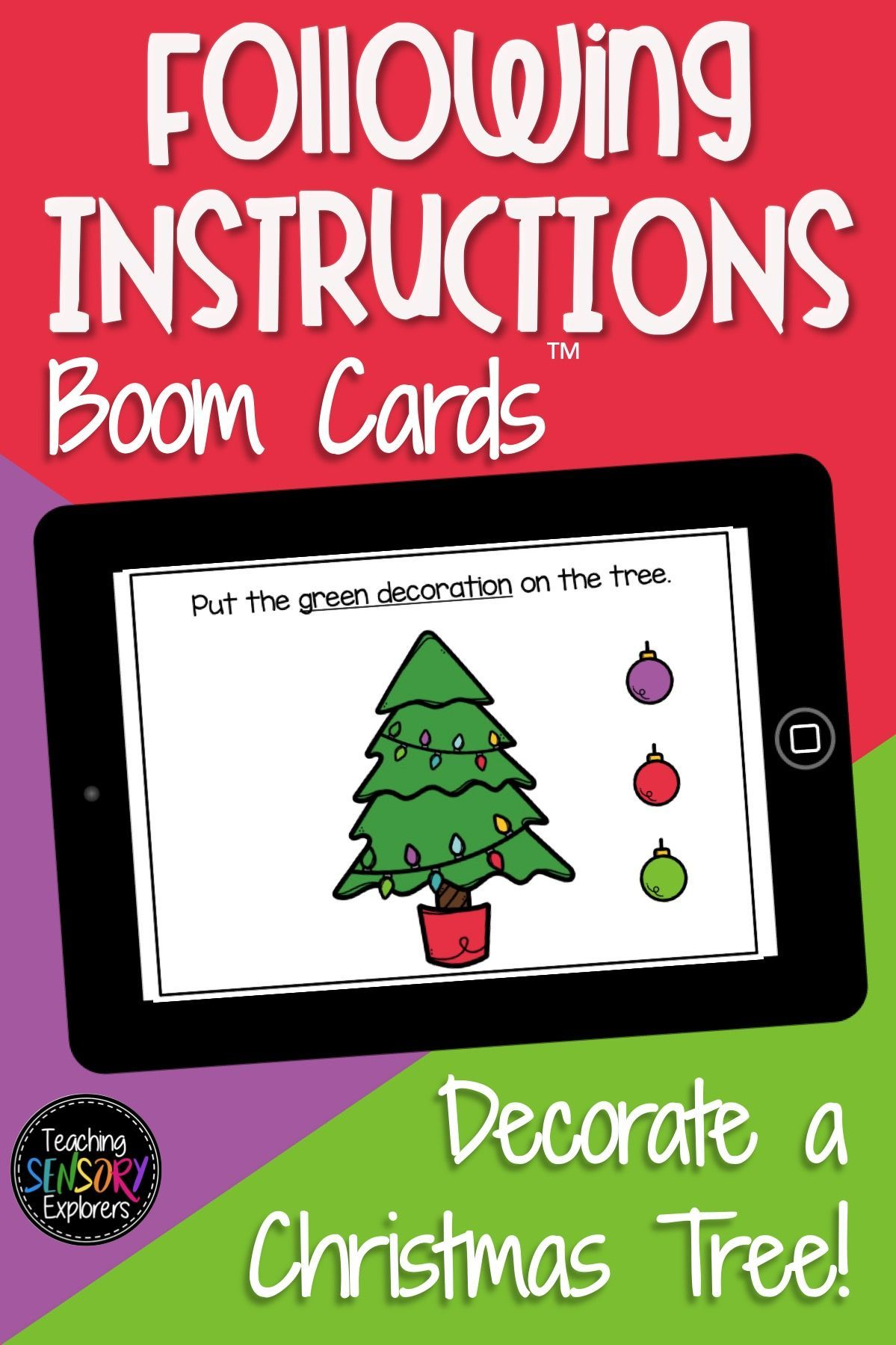 Following Directions Boom Cards Christmas Tree