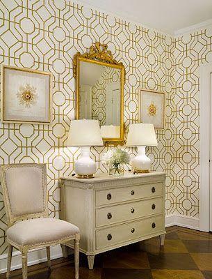 geometric gold and white wallpaper - foyer