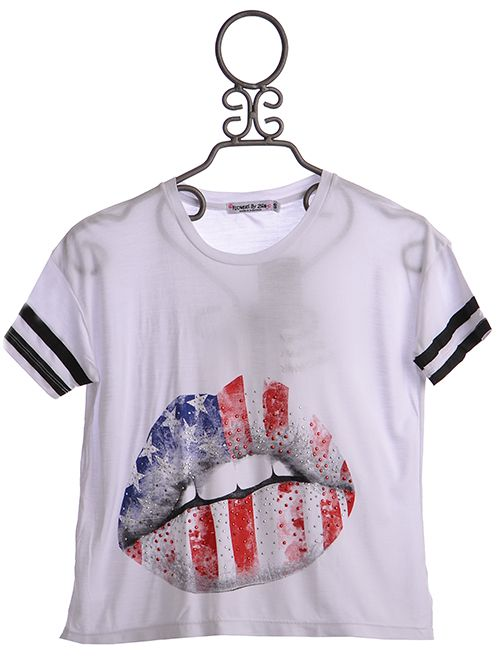 927ebd7dcc6 Flowers By Zoe White Summer Top with Flag Graphic  39.00