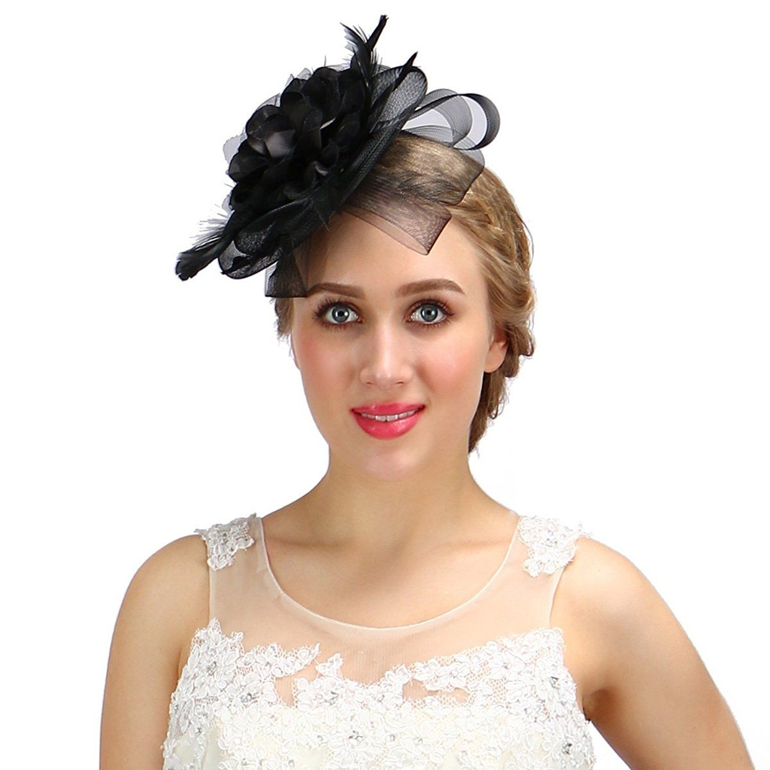 Valdler Women Elegant Cocktail Fascinator Hat For Party