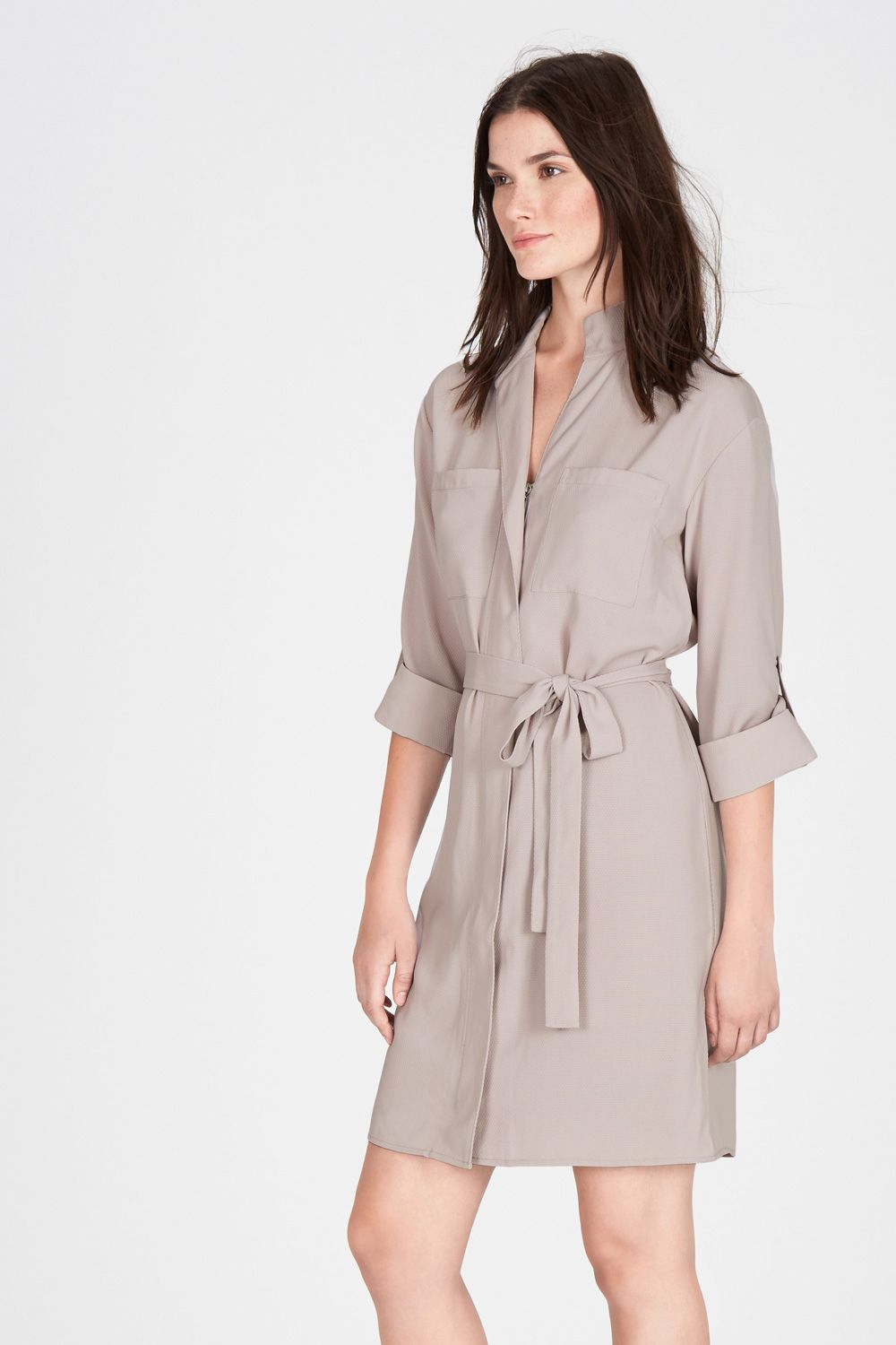 Dresses | Grey ZIP FRONT SHIRT DRESS | Warehouse