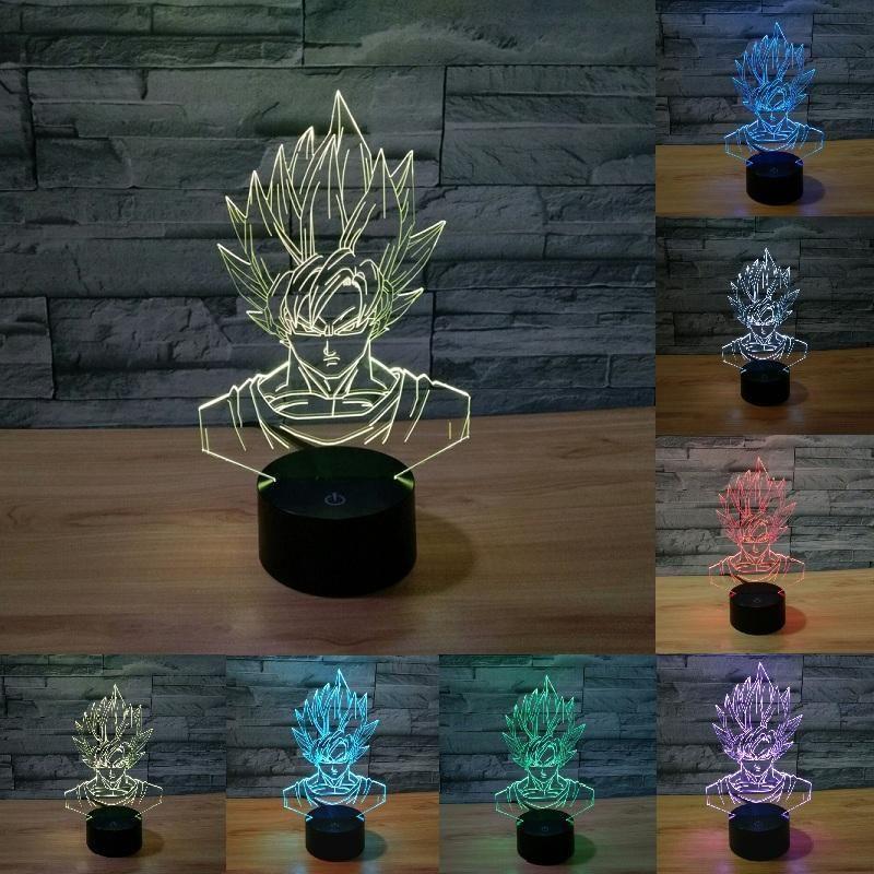 Son Goku Attack Led Night Light Lamp Dragon Ball Z Kamehameha Anime Sun Wukong