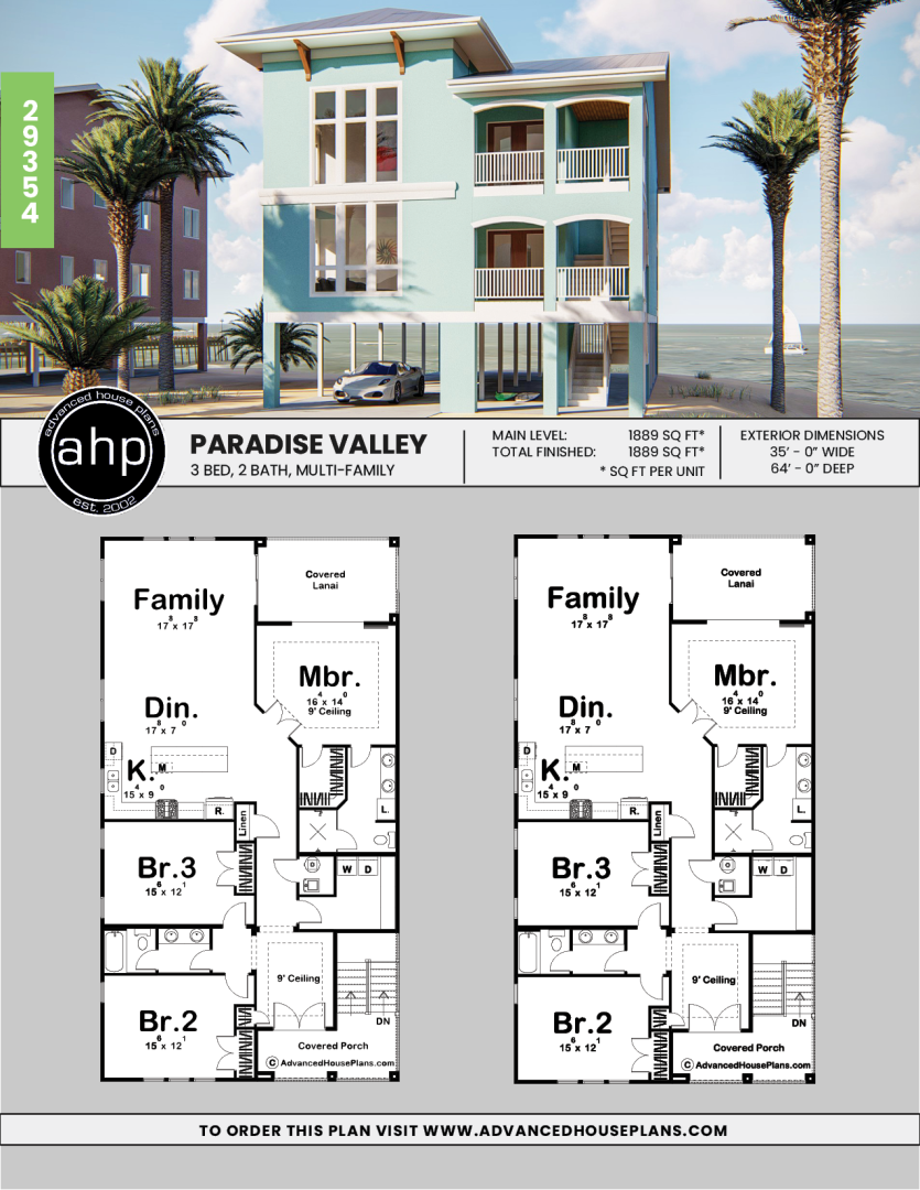2 Story Coastal Plan Paradise Valley Beach House Plans Beach House Floor Plans Craftsman Floor Plans