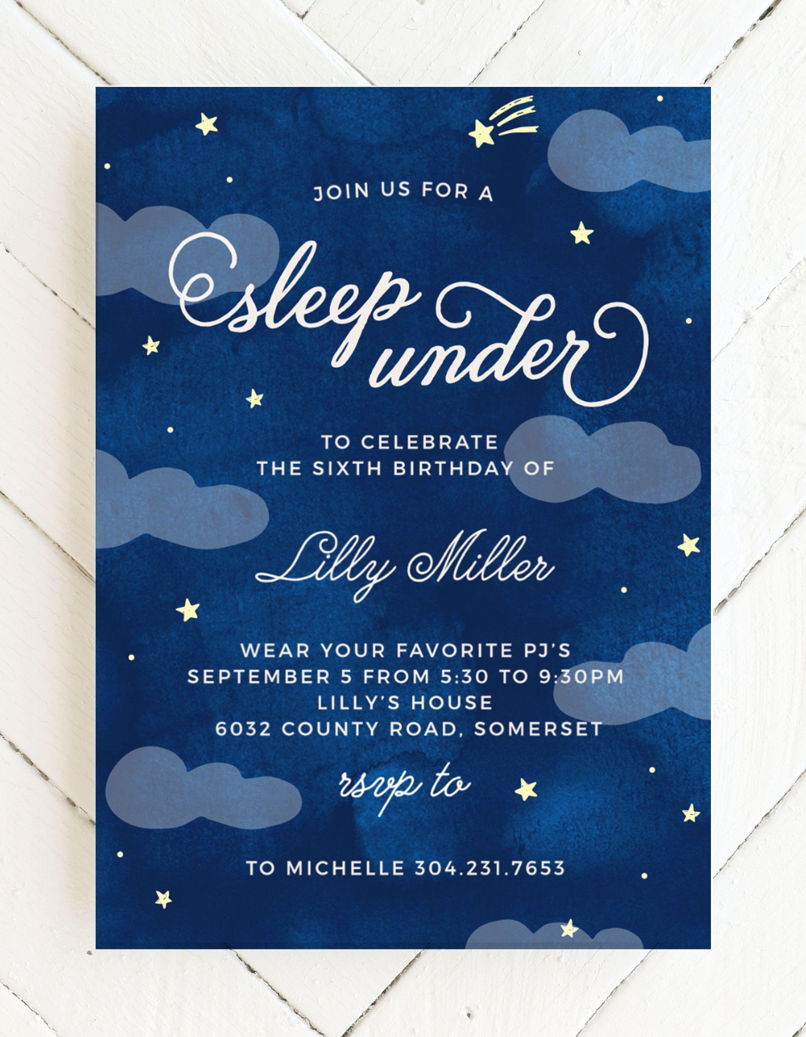 Sleep Under Children S Birthday Invitations Outdoors Birthday Party Birthday Invitations Kids Winter Birthday Party Invitations