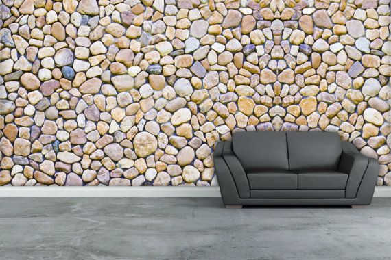 River Rock Texture Wall Mural Repositionable Peel By
