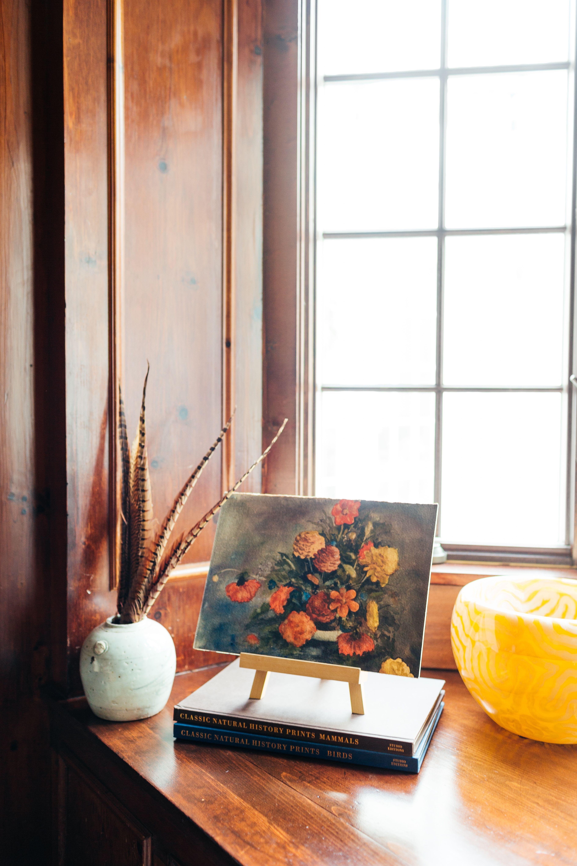 Wood Paneled Library: Library // Floral Art // Wood Paneled Walls // Pheasant