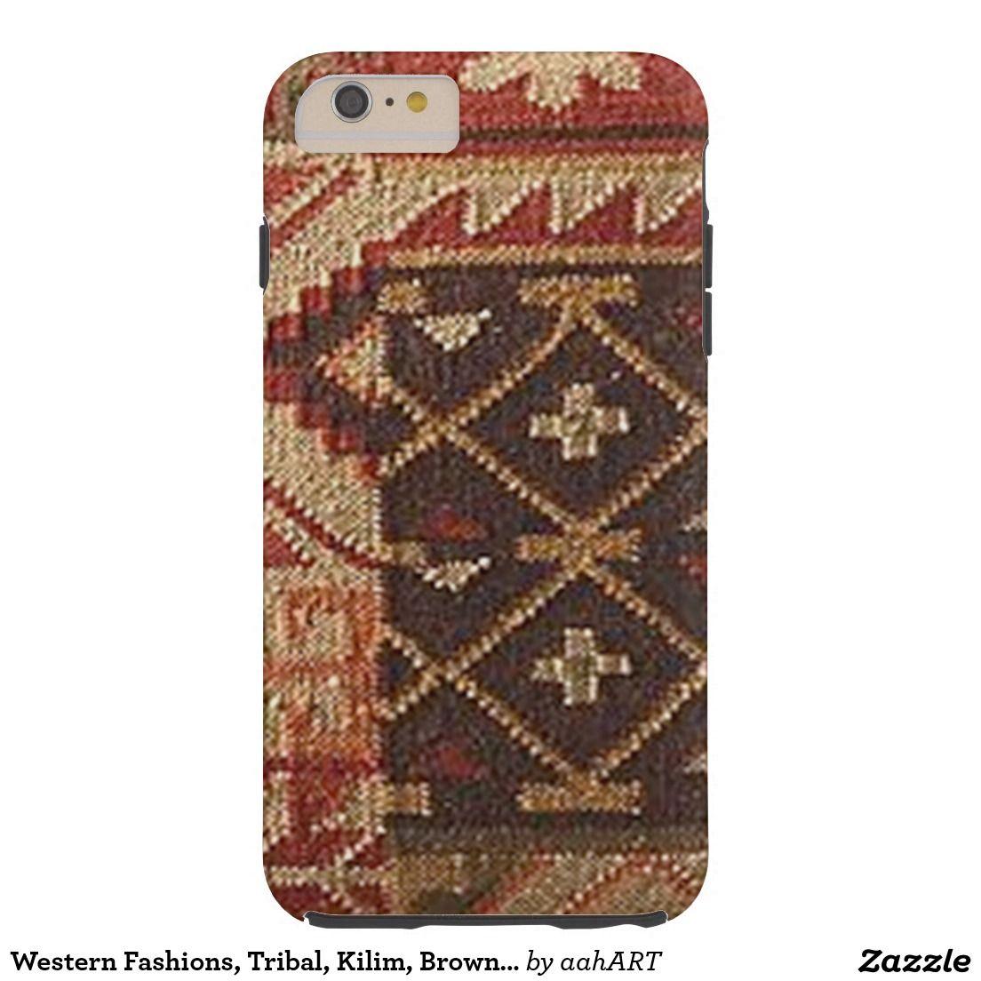 Western Fashions, Tribal, Kilim, Brown Earth Tones Tough iPhone 6 Plus Case