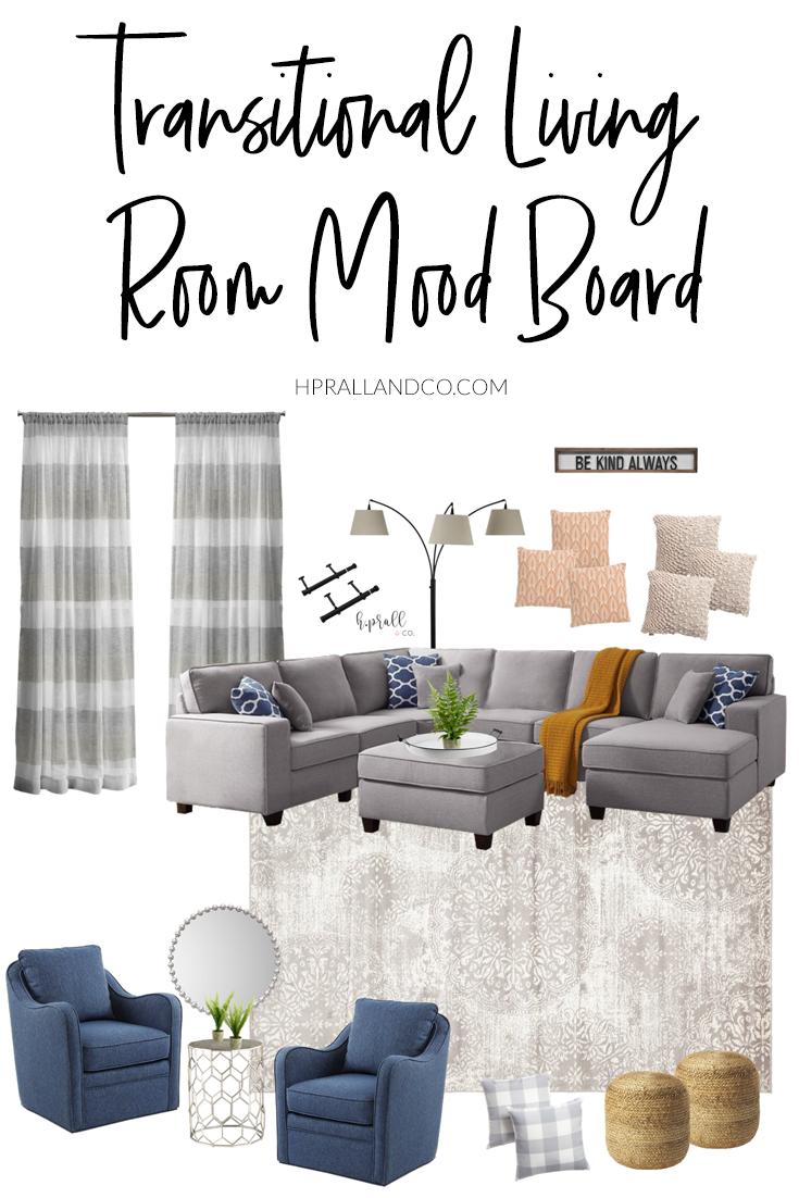 Transitional Living Room Mood Board #moodboards