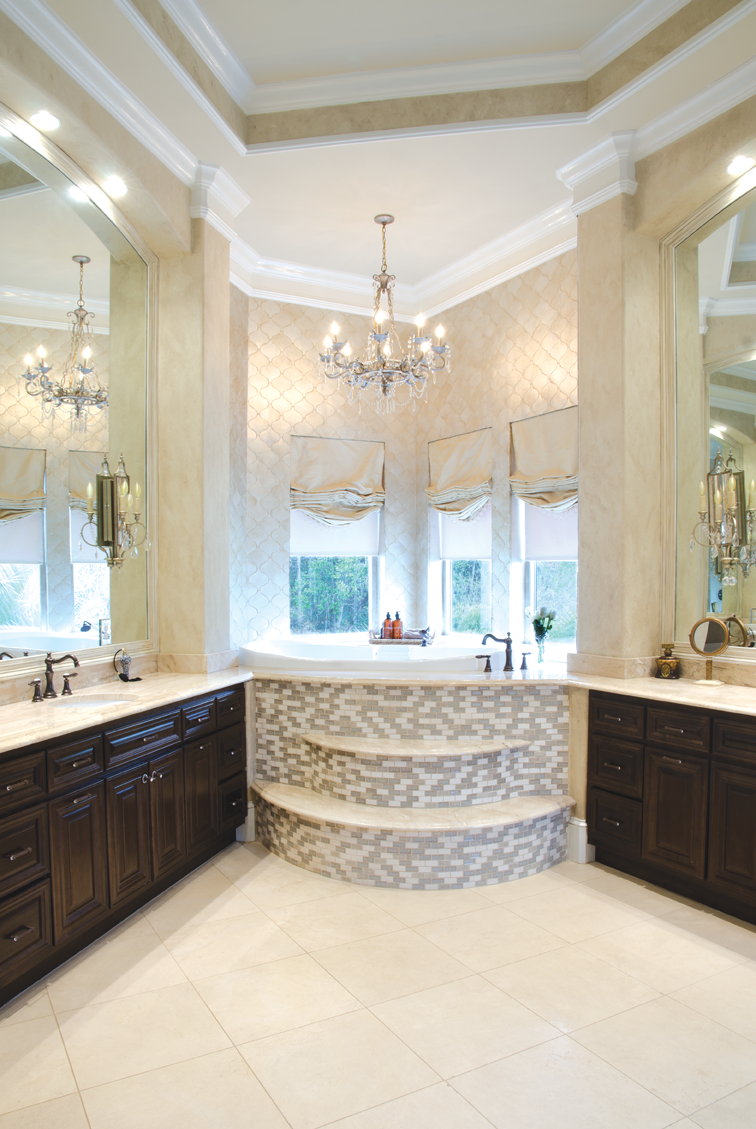 Master bath with chandelier. | Bed + Bath | Pinterest | Chandeliers ...