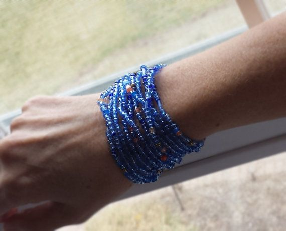 Jodhpur Blues Beaded Wrap Bracelet with or without Tassel or Charm - Extra Long Seed Bead Stretch Bracelet