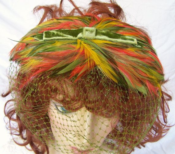 Vintage Fall Feather Velvet Fascinator Hat Olive Green Orange Golden Yellow 616DGZ