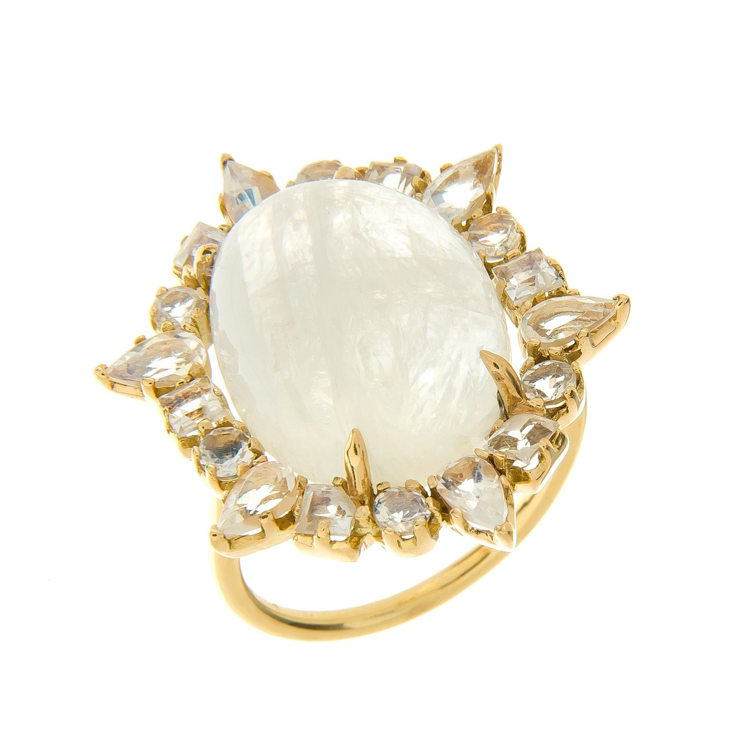 Gold Ruffled Cocktail Ring, Moonstone