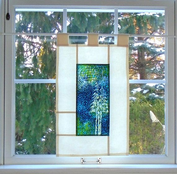 Quilted Moon Over Pines Bleached Art Stained Glass Look