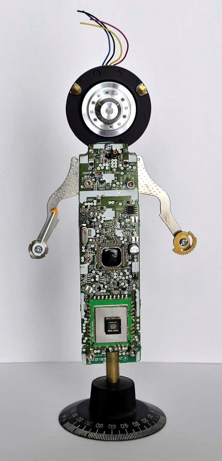 Artist Made Robot Art Sculpture Steampunk Cellphone Circuit Board Radio Dial Ebay