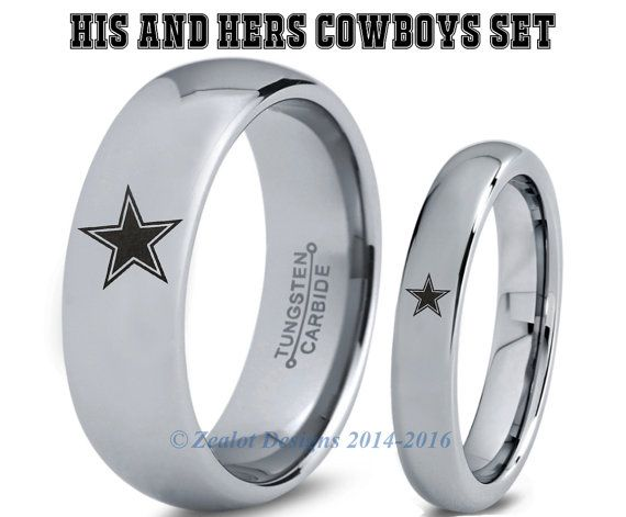 Cowboys His Hers Set Tungsten Wedding Band Ring By Zealotdesigns Dallas Tattoo Ideas