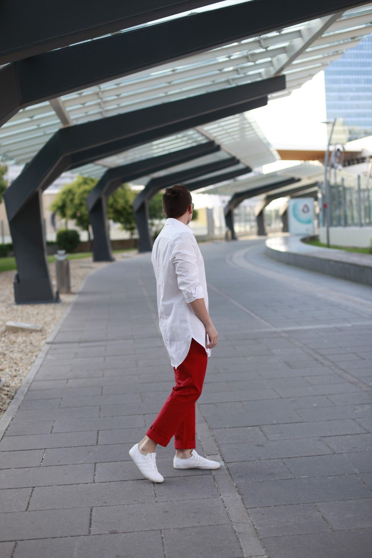 In my 'Long White & Cropped Red' Outfit, I'm wearing red cropped trousers with my new oversized, white shirt.