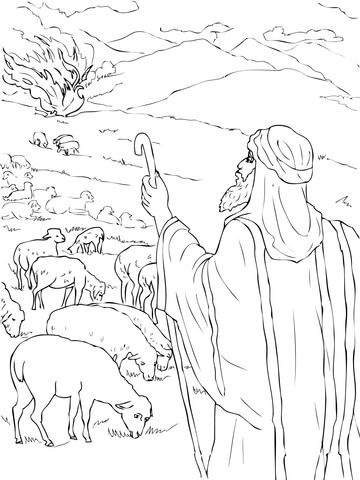 Moses Sees the Burning Bush Coloring page | Oude Testament ...