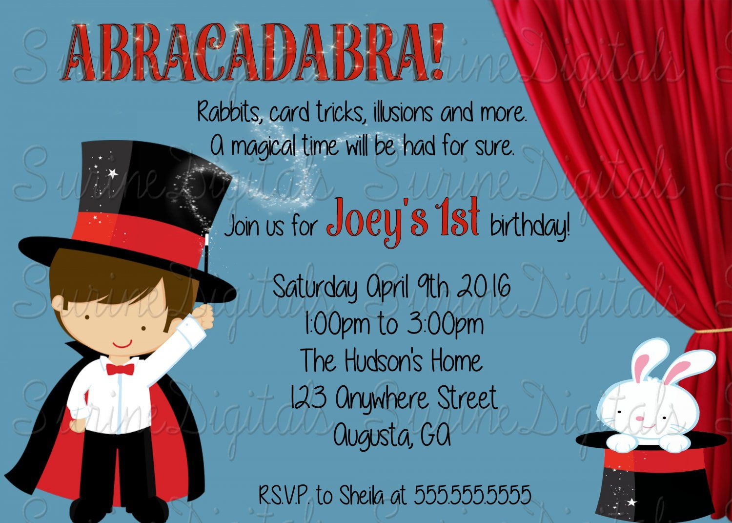 Little+Magician+Birthday+Party+Invitation/+Magic+Show+Themed+Party ...