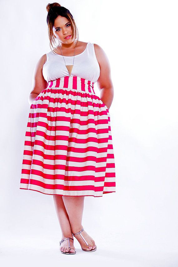 40cc261fcd2 JIBRI Plus Size High Waist Flare Skirt Mini (Pink Stripe). Love this skirt  and would really love it in red   white too!  )