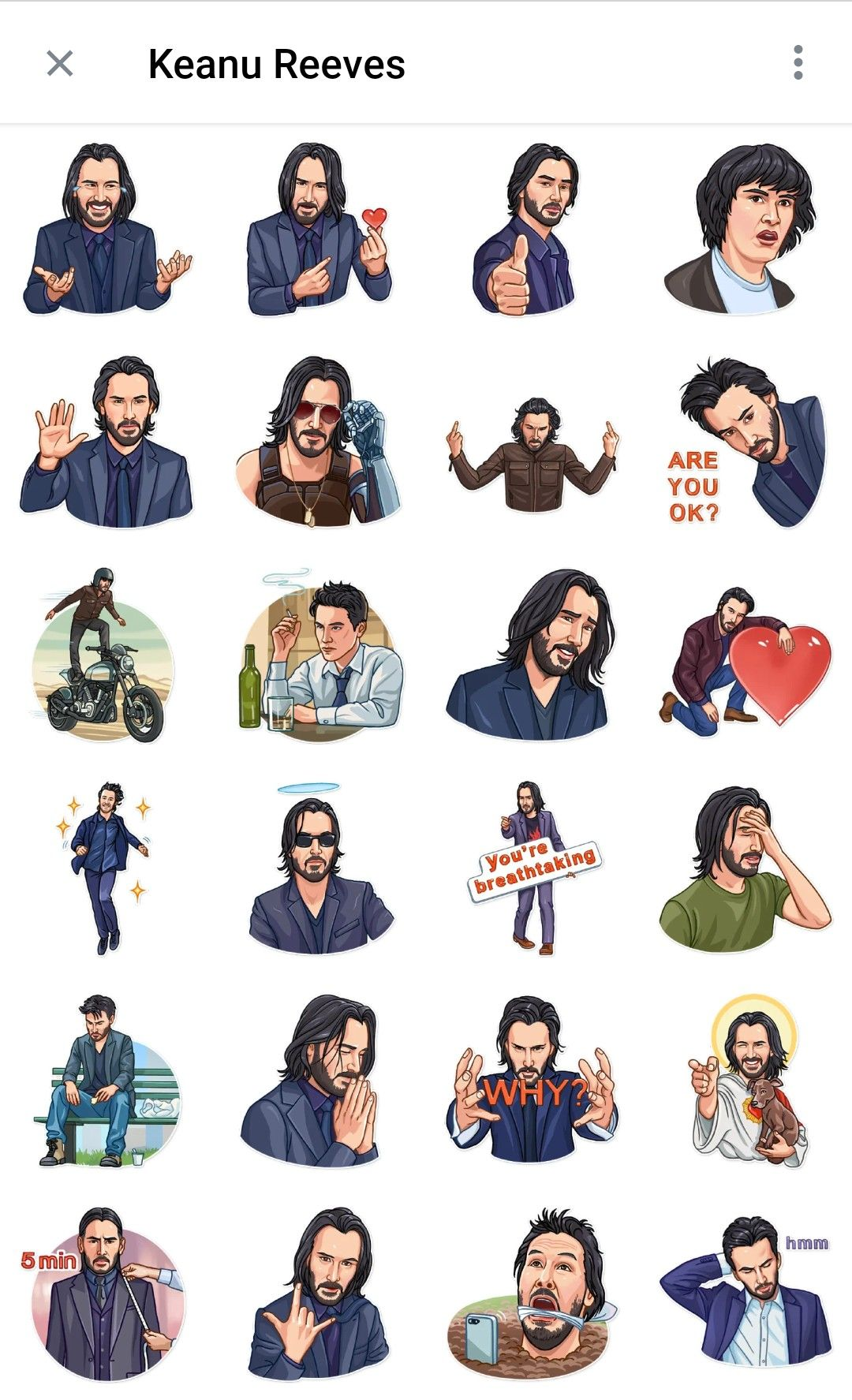 Keanu Reeves Telegram Sticker Pack Telegram Stickers Creative Instagram Stories Illustration Wall Art