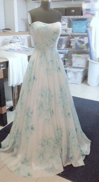Blue Wedding Dress Floral Watercolor Bonaparte Chiffon