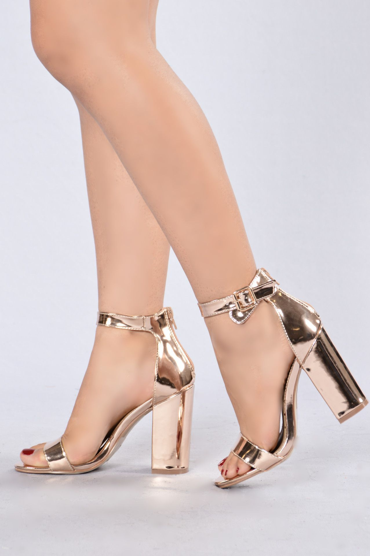 be625a6e13e Available in Rose Gold - Adjustable Buckle - Chunky Heel - Back Zipper - 4  1 2 Inch Heel