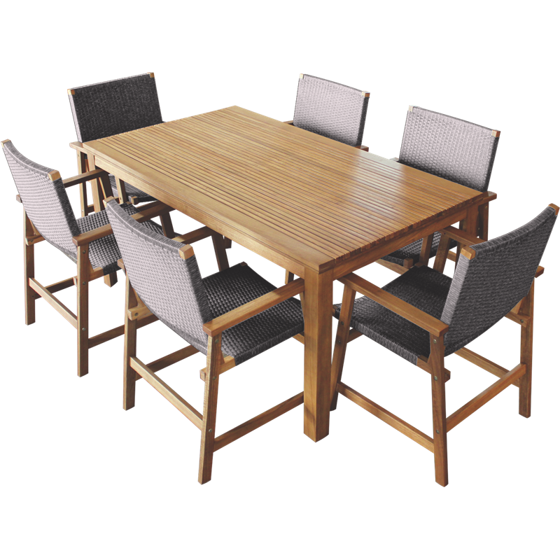 Mimosa 7 Piece Elwood Timber Setting With Wicker Chairs I