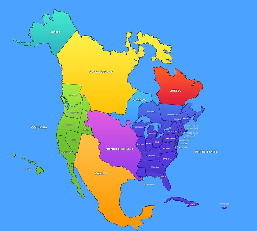 The Disunited States Of America If Manifest Destiny Had Never - Map us states r