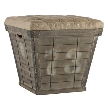 French Country Cube Storage Crate with Burlap Cushion Ottoman. #kathykuohome #ottoman #FrenchCountry
