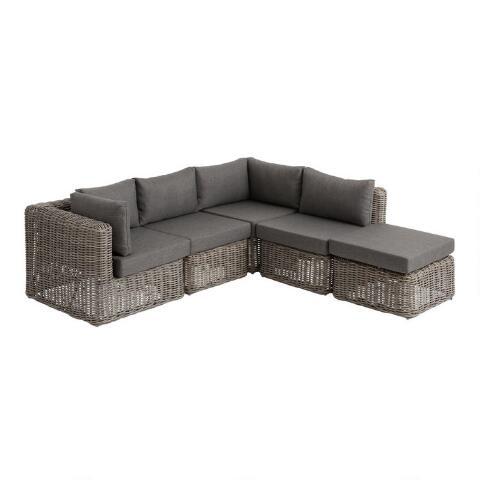 Gray Zahara Modular Outdoor Sectional Collection World Market In 2021 Modular Outdoor Sectional Outdoor Sectional Sofa Sectional Patio Furniture