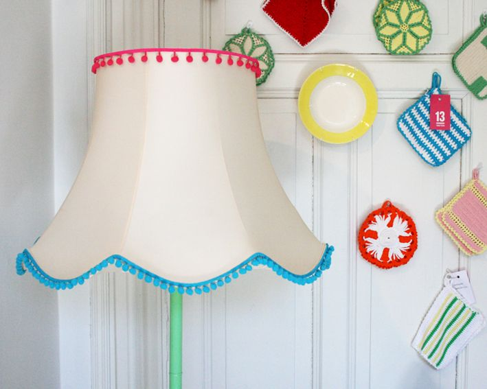 13. Fun Pom Pom floor lamp.  Also like how the lamp is spray painted.