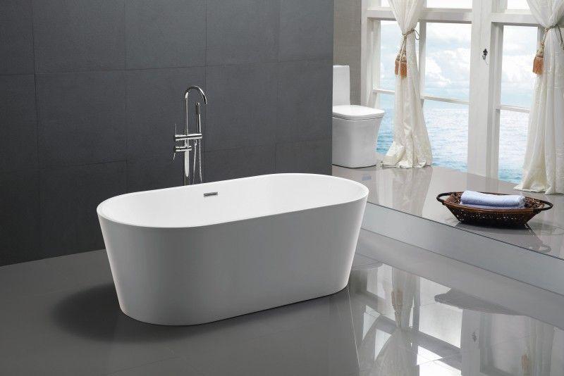 Freistehende Badewanne MIO aus Acryl weiß - Größe und Standarmatur