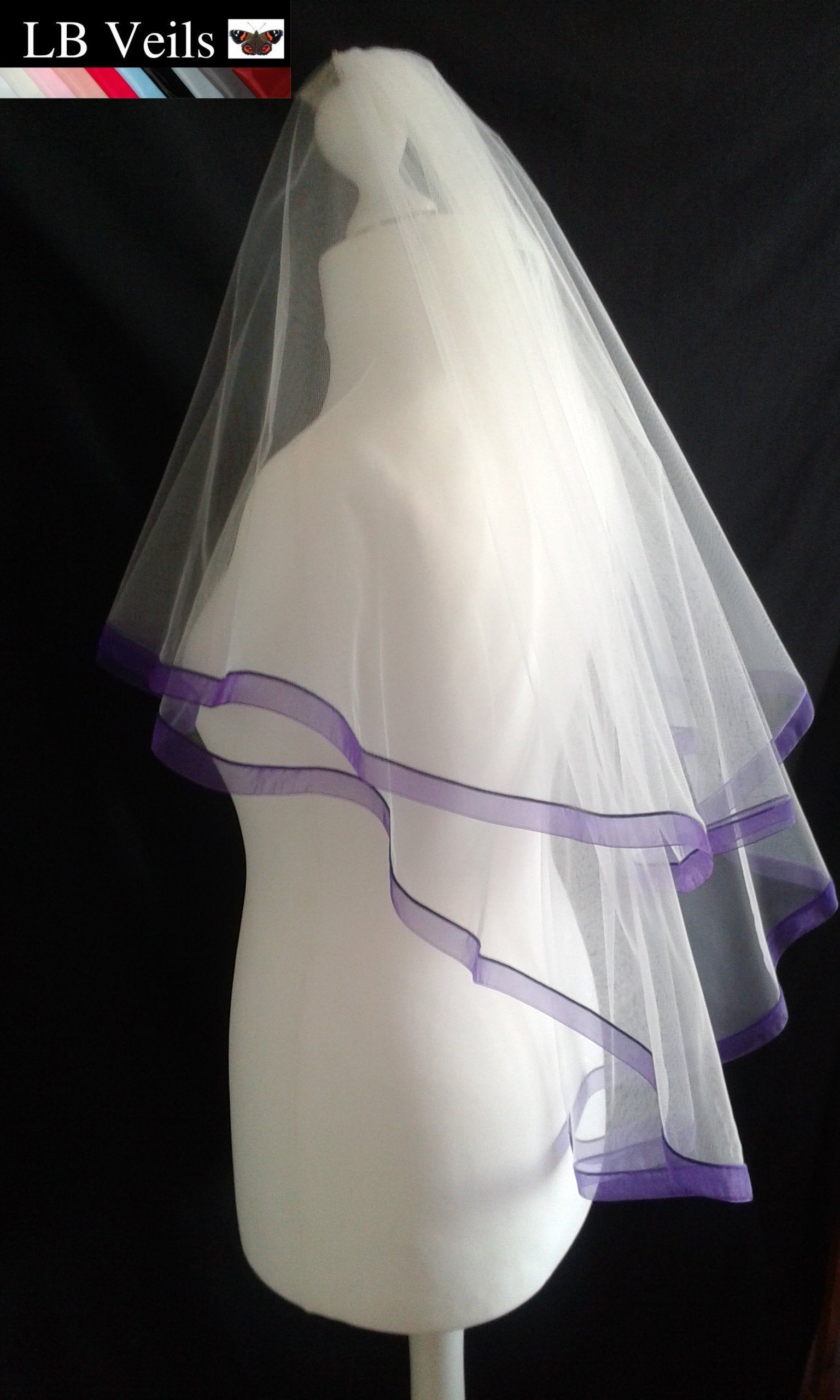 Purple Ribbon Edge Veil 2 Tier Any Colour Wedding Organza
