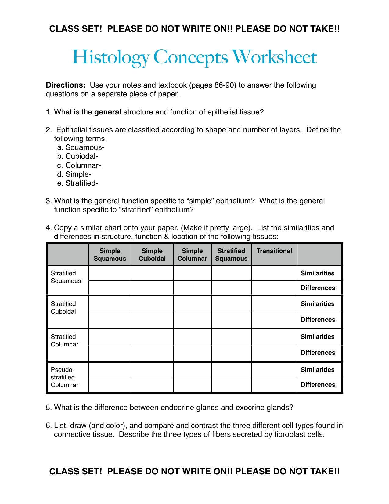 Classified Epithelial Tissue Worksheet Answers Dengan Gambar