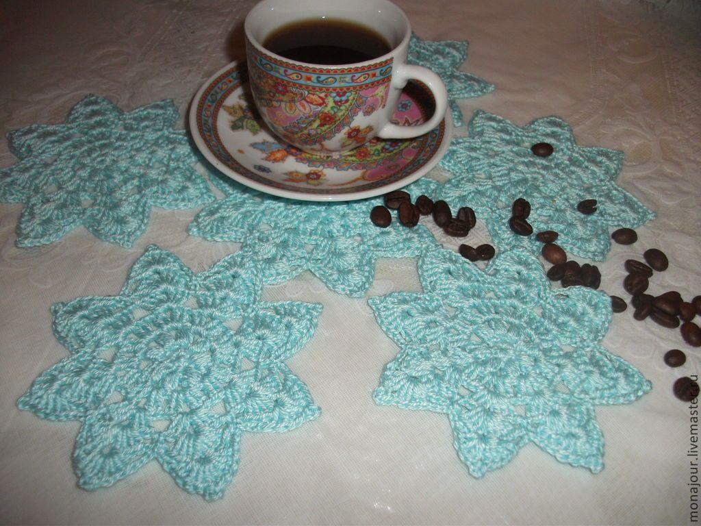 """Купить Чайный набор """"Голубые цветы"""" - голубой, бирюзовый цвет, подставка, подставка под горячее"""