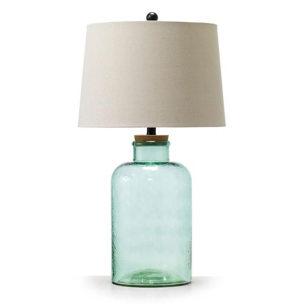 Vera Fillable Glass Table Lamp Aquamarine Black Mango