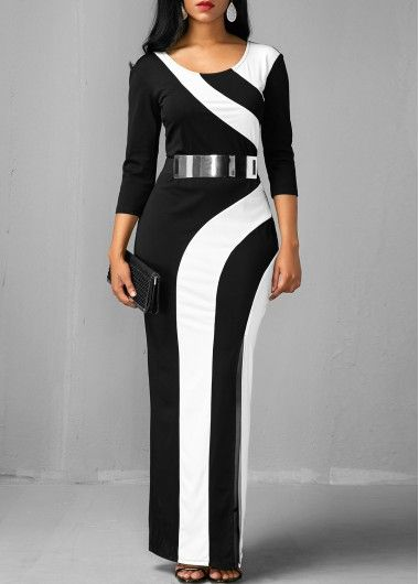 56ca613a9 Side Slit Color Block Three Quarter Sleeve Dress   Rosewe.com - USD $31.88