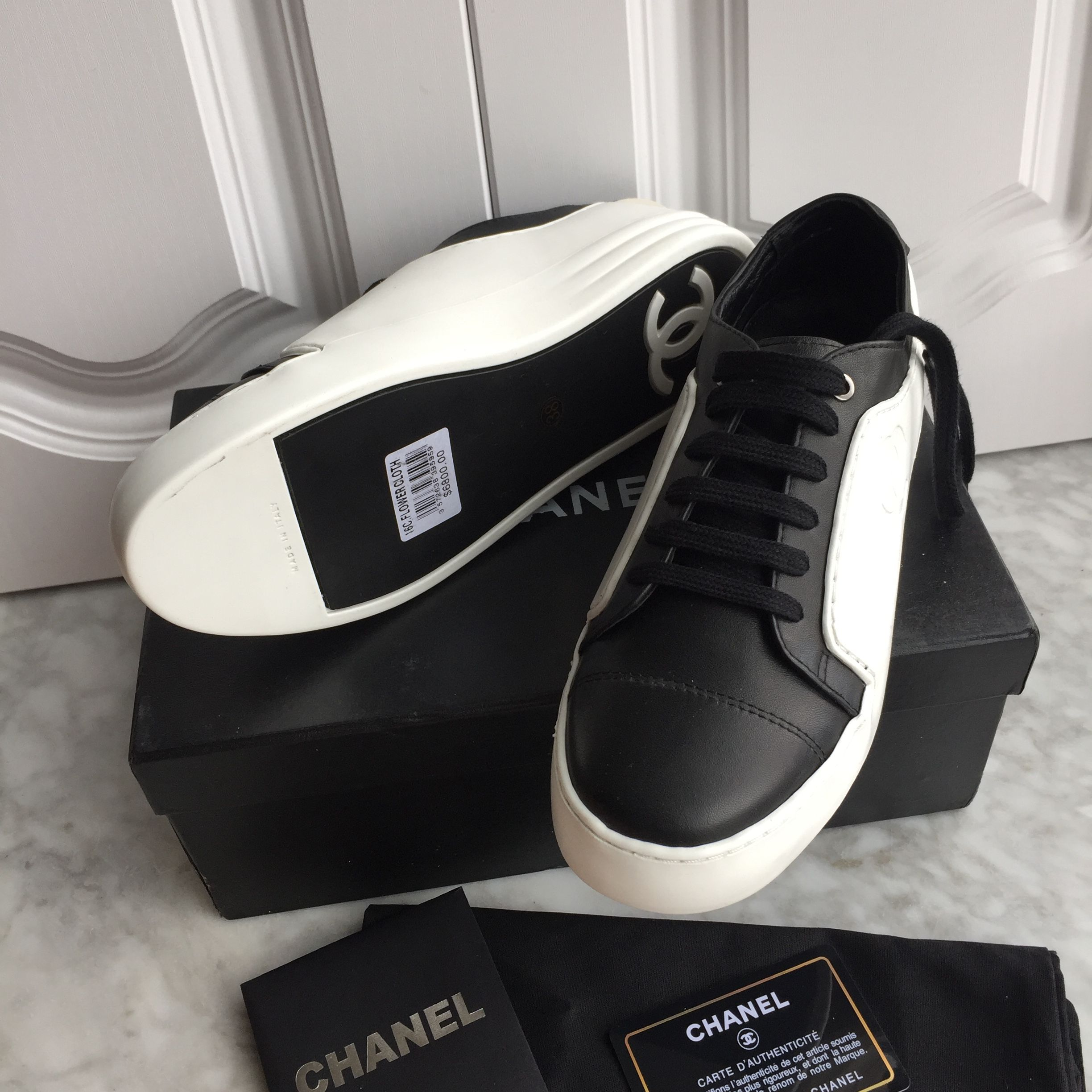cf214722f4f Chanel woman shoes black white colors sneakers flats  SanukWomensShoes