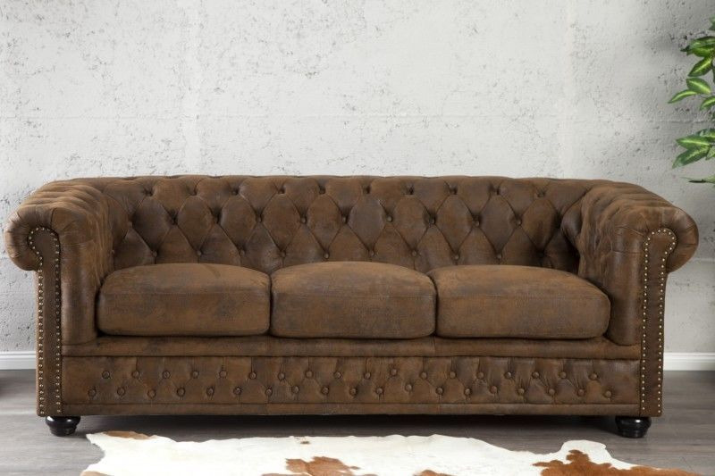 Sofa Couch Chesterfield 3er Braun Antik Look Design Polster Mobel England Neu Sofa Sofa Chester Und Sofa Loft