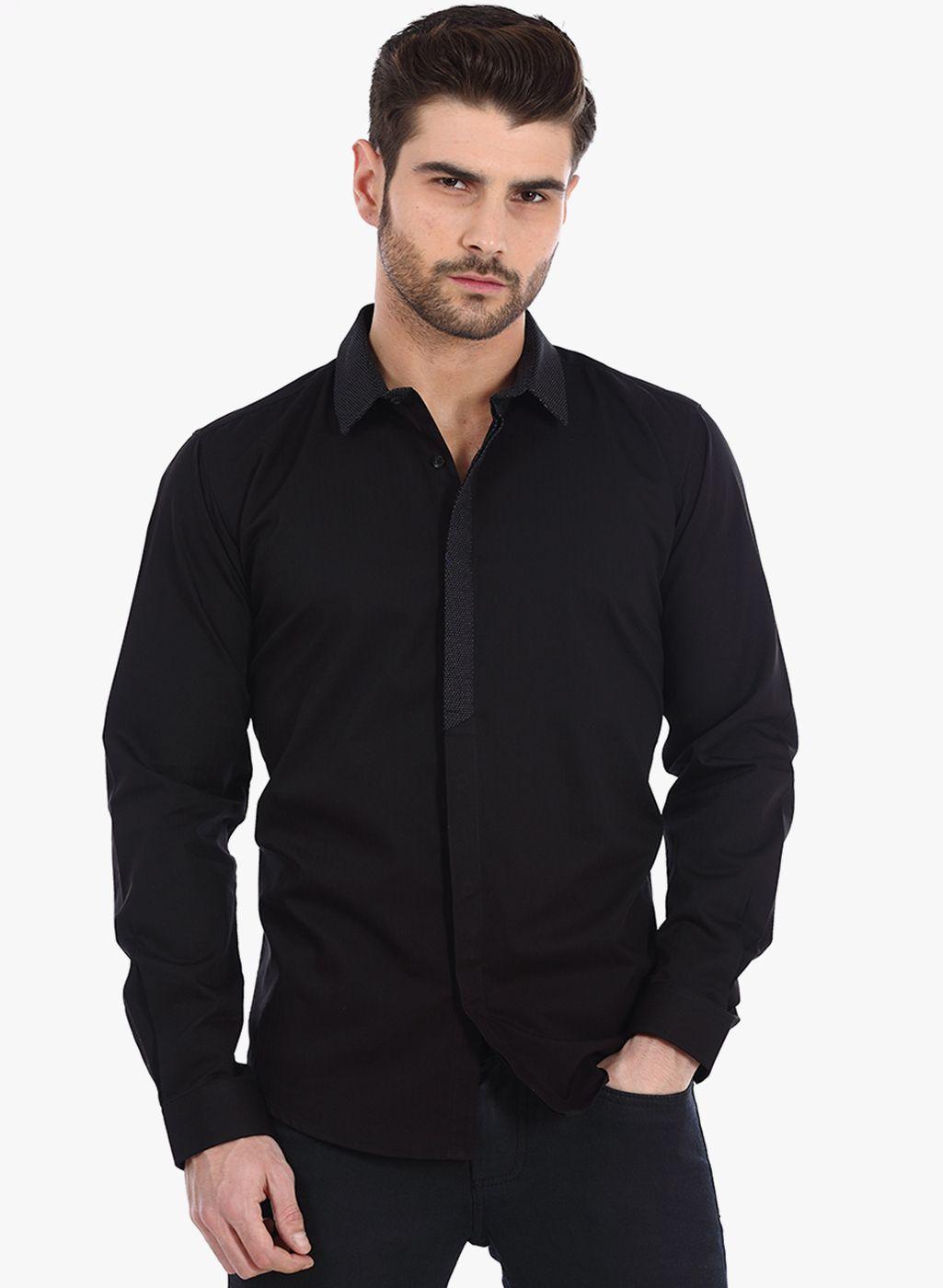 bc9af56215 Buy Basics Black Solid Slim Fit Casual Shirt for Men Online India ...