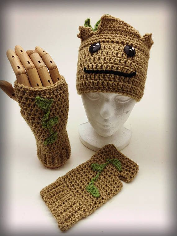 Crochet Groot Hat and Fingerless Gloves Set | Crochet Accessories ...