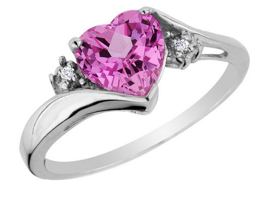 Pink Sapphire Heart Ring with Diamonds 34 Carat ctw in 10K White