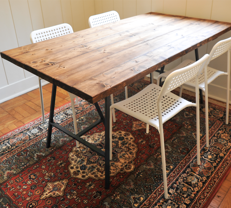 affordable diy reclaimed wood dining table love this and the ikea adde chairs with ikea snack table. Black Bedroom Furniture Sets. Home Design Ideas