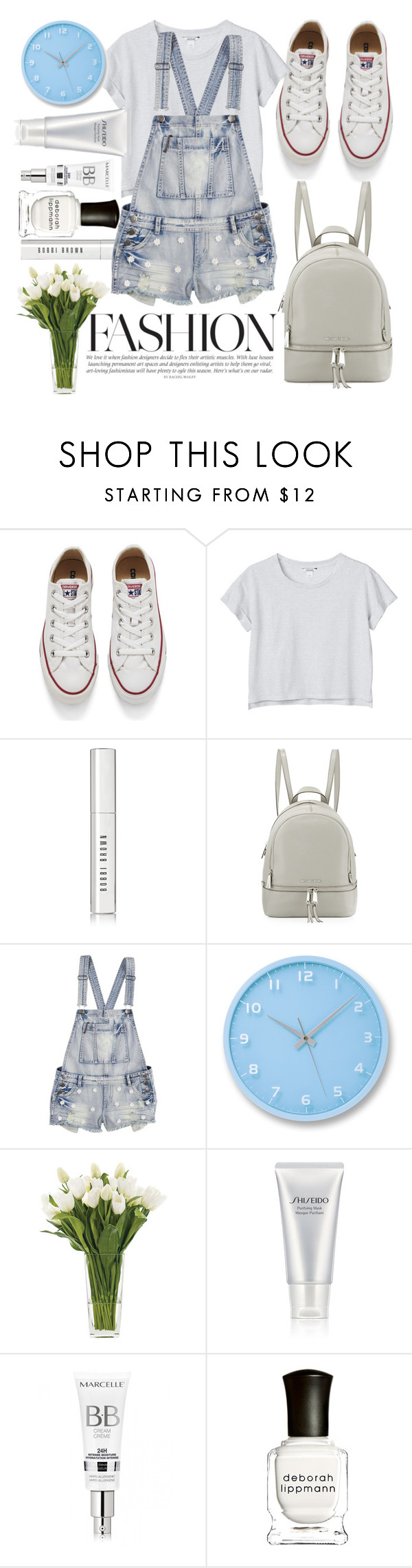 """Untitled #141"" by maiaa-2001 ❤ liked on Polyvore featuring Converse, Monki, Bobbi Brown Cosmetics, MICHAEL Michael Kors, Lemnos, NDI, Shiseido, Deborah Lippmann, women's clothing and women"