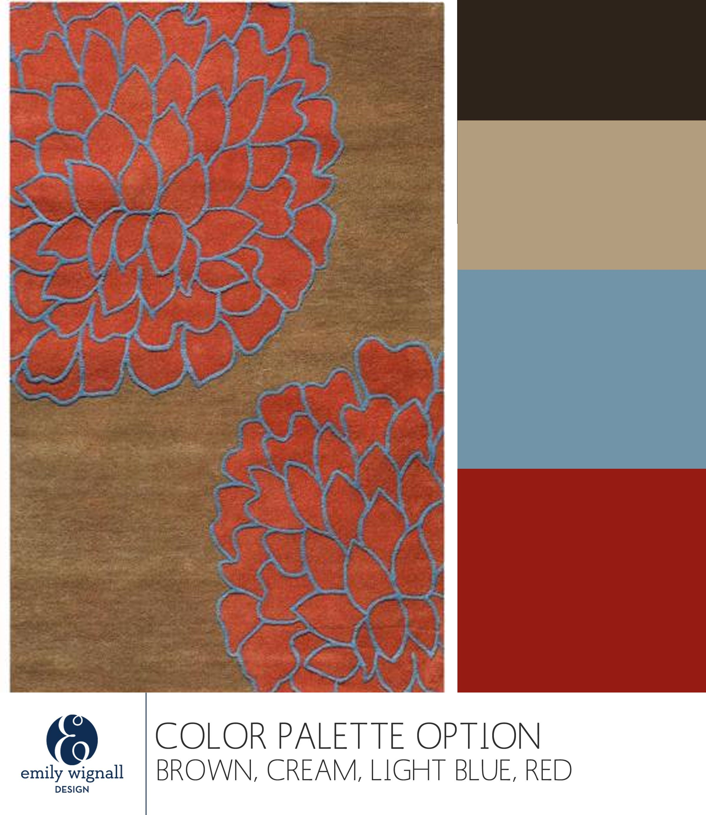 Brown Cream Red Light Blue Color Palette Option Inspired By This More Modern Fl Rug