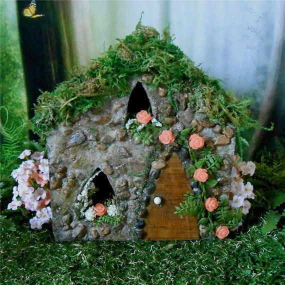 Rose Cottage Fairy House, Fairy Garden, Miniature Garden House, Outdoor  Fairy House,