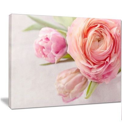 """DesignArt 'Full Bloom and Blooming Flowers' Photographic Print on Wrapped Canvas Size: 16"""" H x 32"""" W x 1"""" D"""