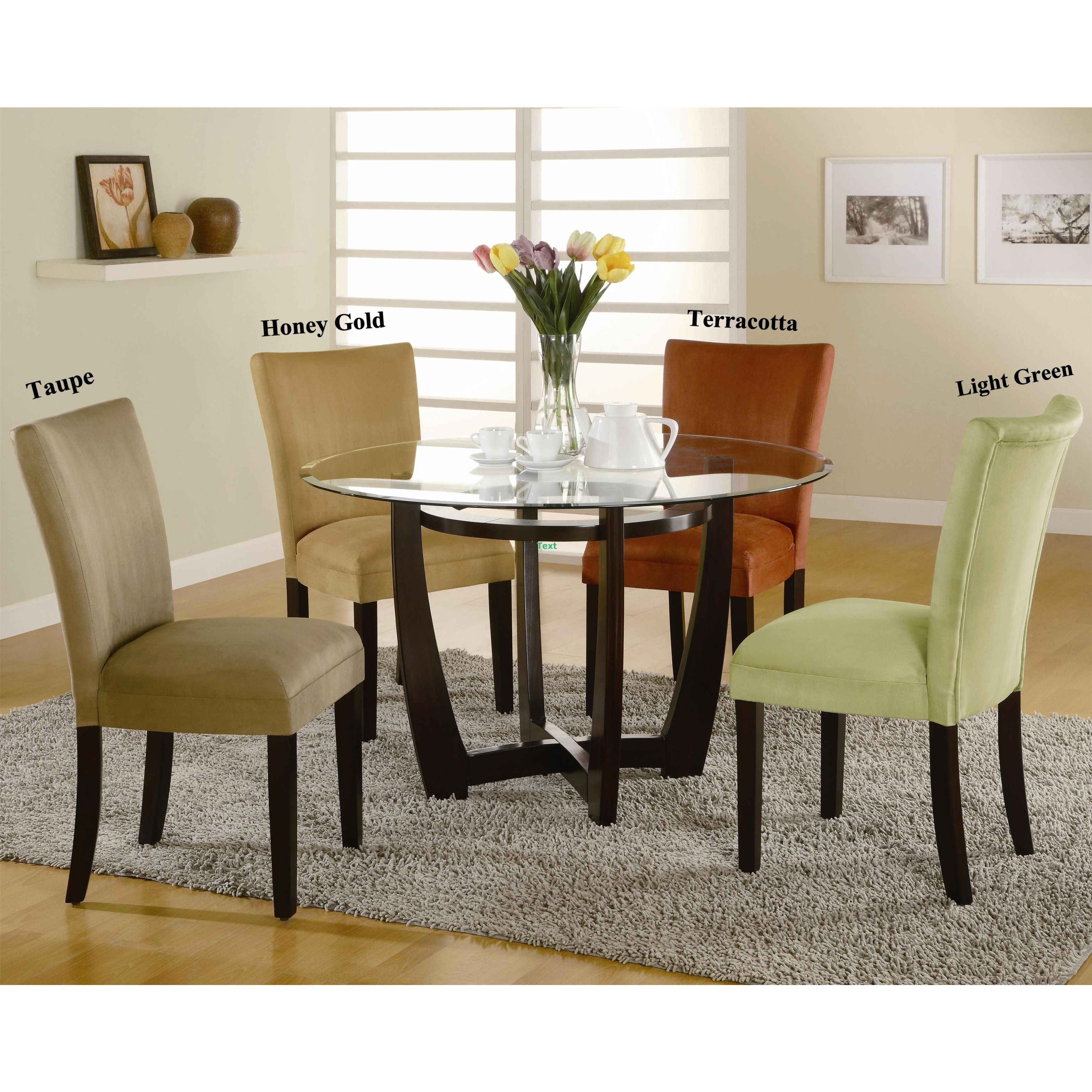 Mirage Round Glass Top Table  Microfiber Parson Chairs 5Piece Prepossessing Glass Top Dining Room Table Decorating Design