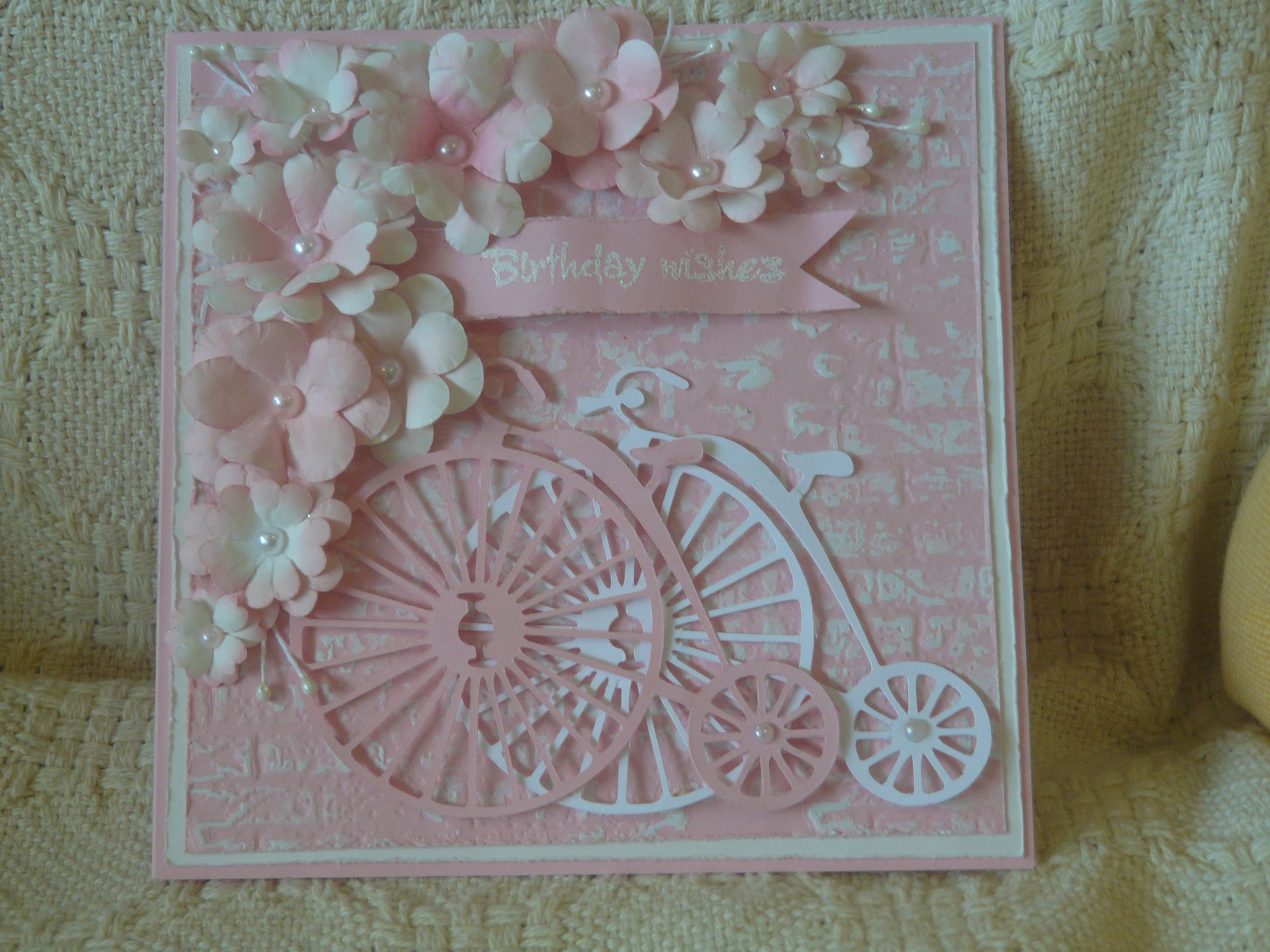 cased from papertalkwithsamra.blogspot.com, bicycles cut with silhouette,flowers dies and silhouette, sizzix ef brickwork