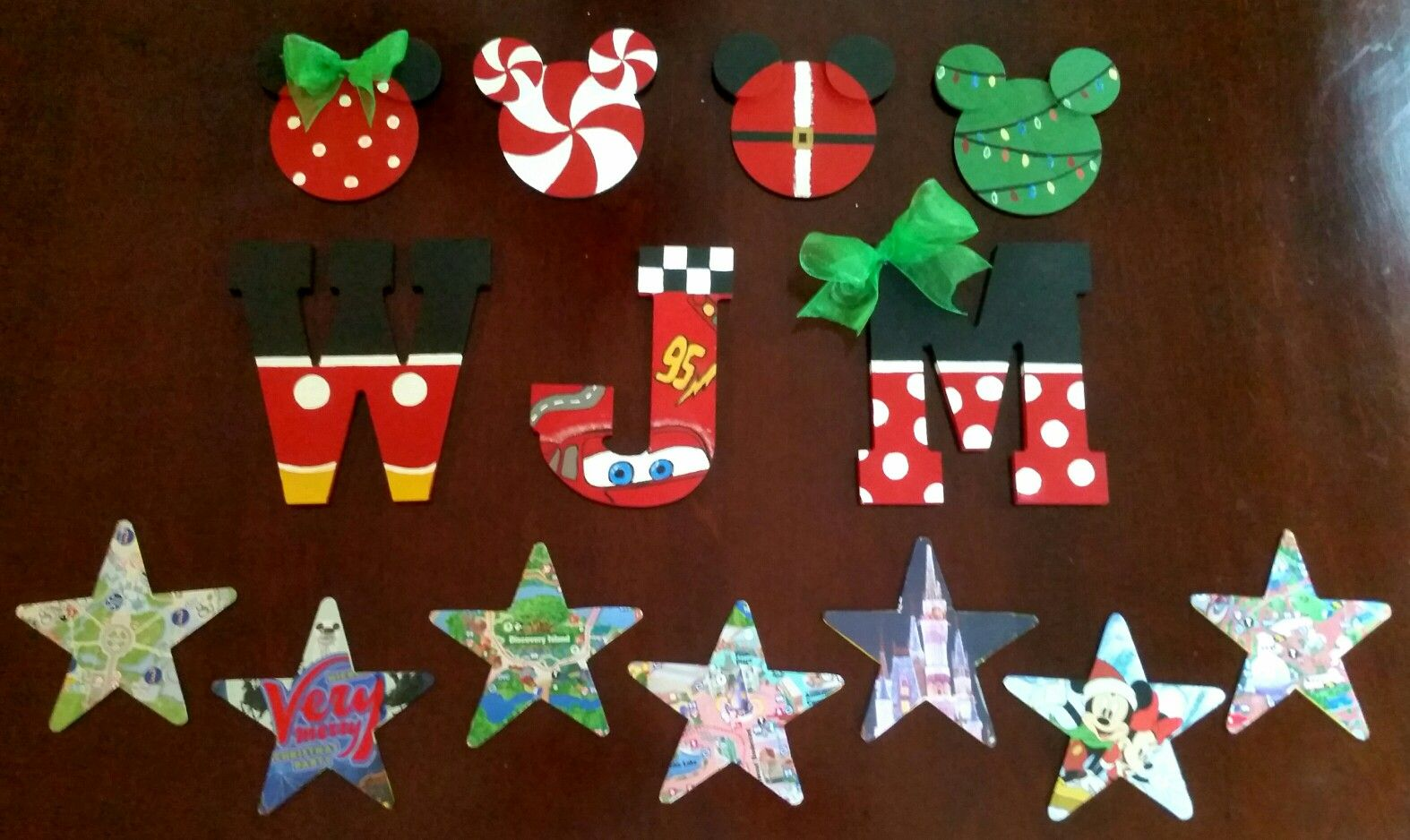Diy Disney Christmas Ornaments Wooden Letters Stars And Mickeys Hand Painted And Decoupage Park Disney Christmas Ornaments Christmas Crafts Letter Ornaments
